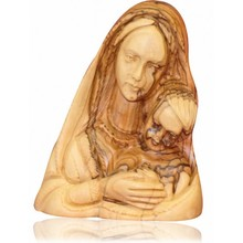 bethlehem olive wood handicraft virgin mary holding baby jesus