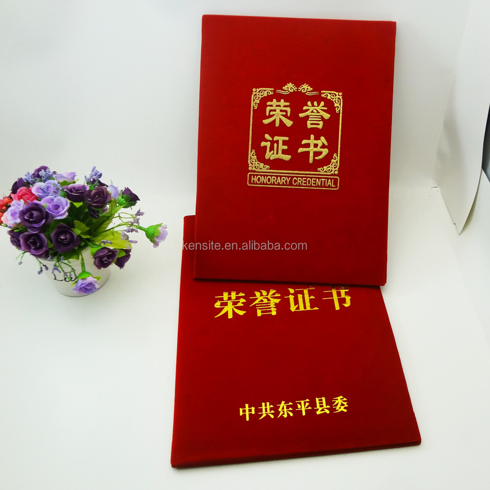 China supplier customized 3D gold logo velvet certificate folder