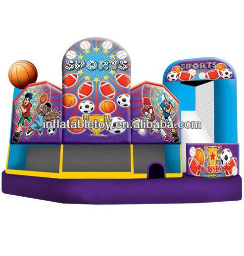 sport 5 in 1 inflatable combo house ,jumping inflatable combo