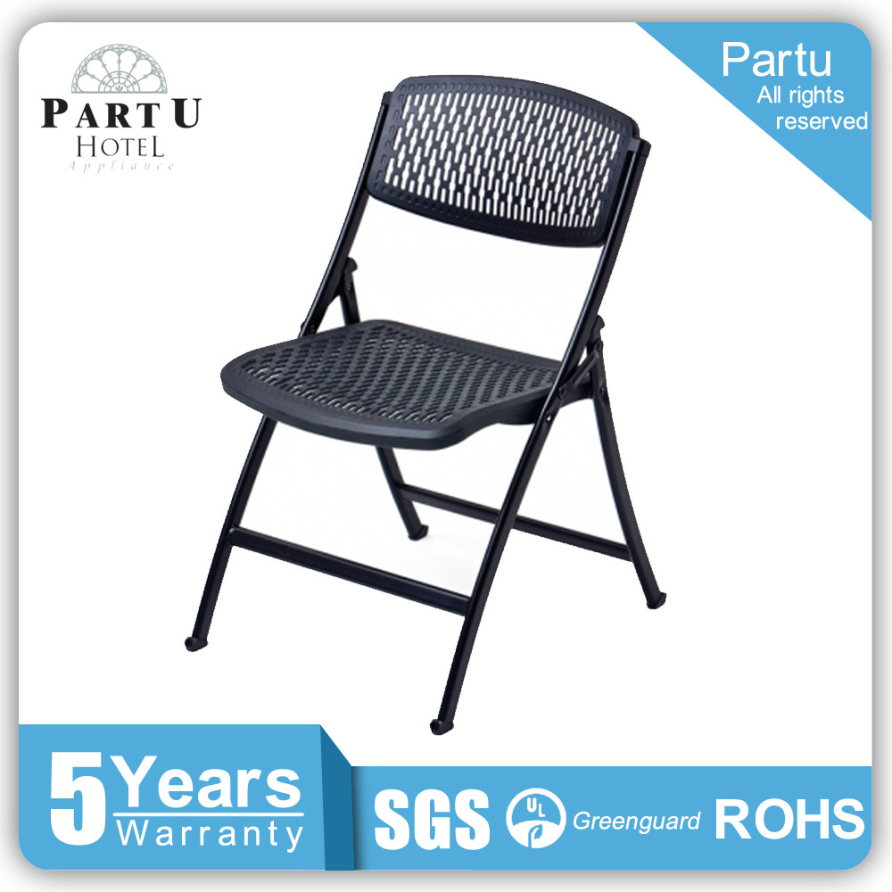 Partu Durable Lightweight Steel Frame Black Seat And Backrest Folding Chair