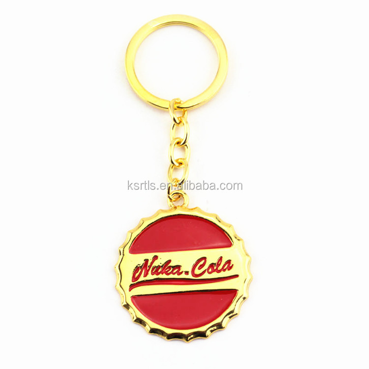 Promotional bulk custom round shape engraved company logo stainless steel coke keychain