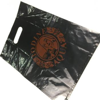 low density merchandise shopping plastic bags with die cut handles