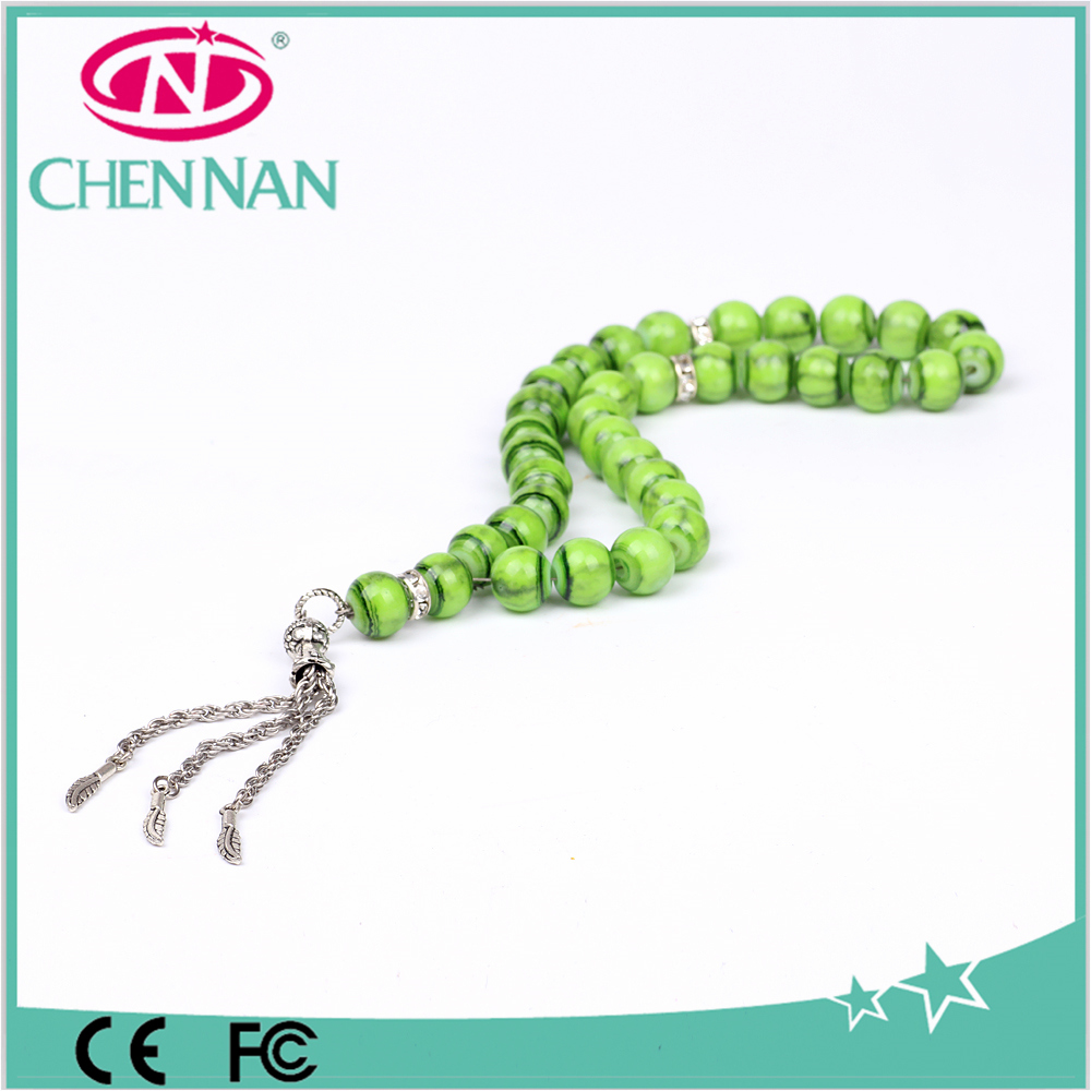 Crack green beads crystal islamic prayer beads tasbeeh prayer beads