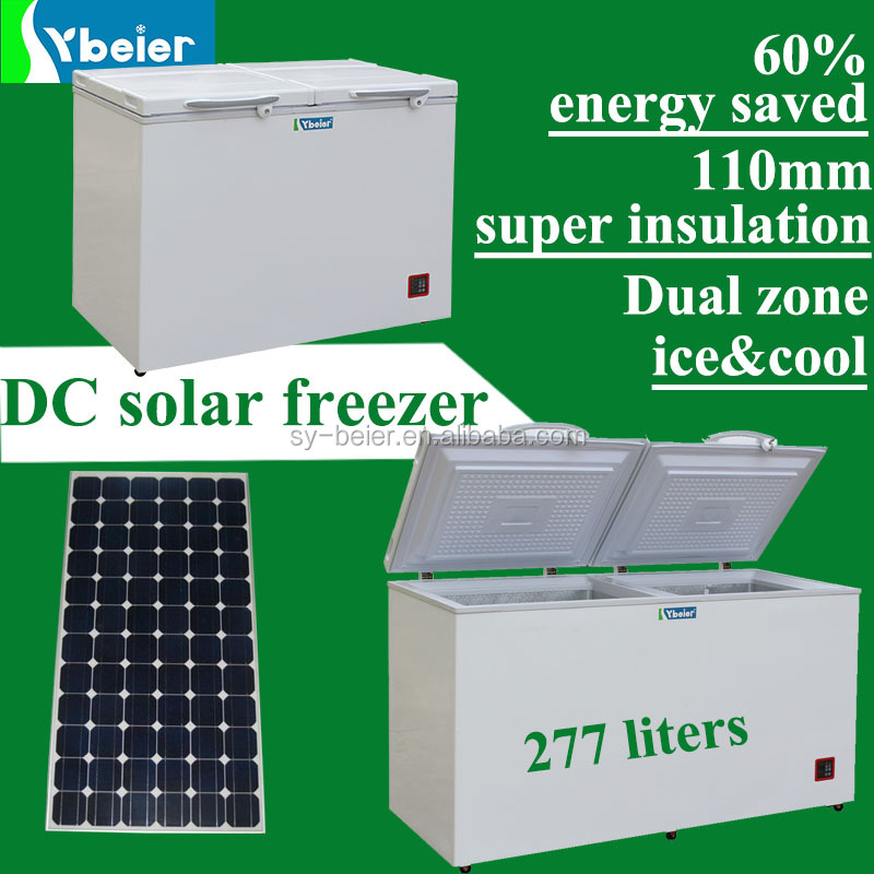 277L energy saving solar freezer DC <strong>12V</strong> 24V freezer refrigerator with dual zones and 110mm insulation