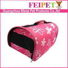 Stylish cute pink luggage style flower patterned travel pet carrier