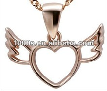 Angel wing large silver rose gold engraved pendant necklace