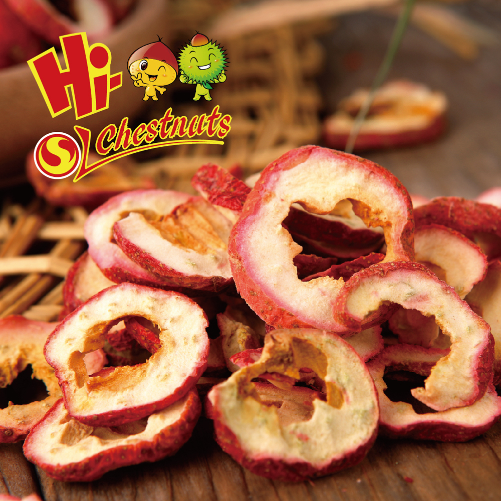 Organic hawthorn berry fruit chips, freeze dried fruit chips