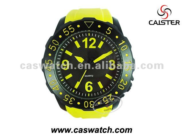 Yellow silicon watch with Japan PC21S Movement.