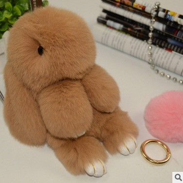 2016 stock real rabbit fur Christmas gift real fur cute rabbit car rabbit pendant