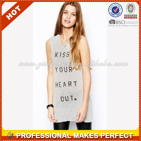 Burnout 100 cotton wholesale ladies tank top(YCT-C0455)