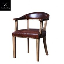 Classic Vintage Old Finishing style dining chair Living Room Accent leather Chairs For Hotel Home