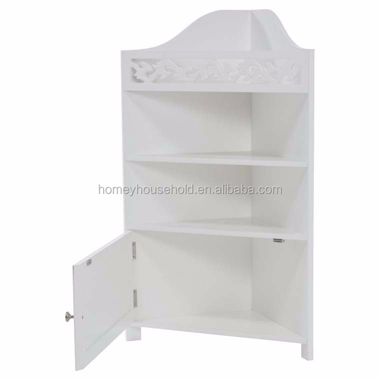 China suppliers vintage style mulit cheap price solid wood white bathroom corner cabinet