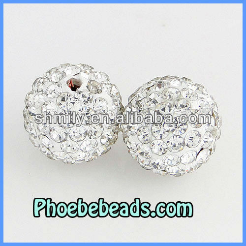 12mm White Disco Ball Beads High Quality CZ Crystal Rhinestone Pave Loose Round Jewelry Accessories For DIY Bracelets
