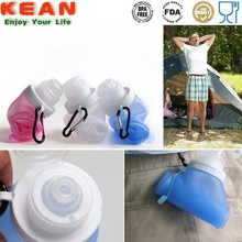 Silicone Foldable Water Drink Sports & Running Bottle with Carabiner