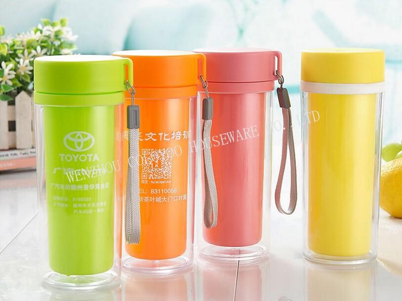 Colorful water bottle plastic buy 16oz tall coffee mug clear plastic double wall mug - Handleless coffee mugs ...
