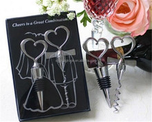 Love Heart Corkscrew Wine Bottle Opener + Wine Stopper Wedding Gift Favors Bottle Opener Set