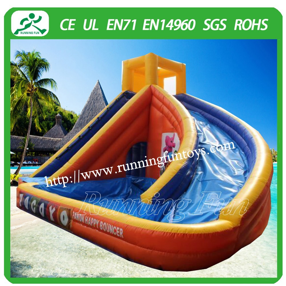Summer big discount price inflatable water slide with pool