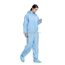 ES11102 white 5mm grid antistatic fabric ESD polyester smock coverall with button for Cleanroom Working