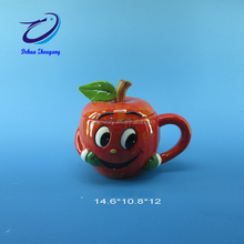 fashinable and cute underglaze handpaitng apple shaped ceramic mug