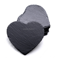 Table mats &pads kinslate heart shape slate crafts wine stone coaster 10x10cm slate coaster(set of 4)