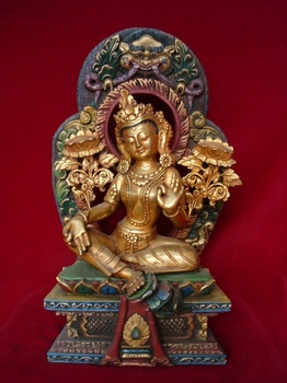 Antique buddha - Colourful Frame Antique Tara statue Tibetan Nepal