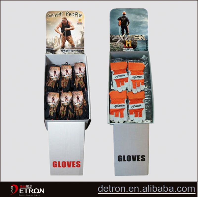 Cheap flooring cardboard display stand for glove