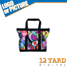 New brand digital print colorful women shopping bag with inside zipper pocket &beach bag shoulder bag