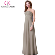 Grace Karin Sexy Strapless Sequined Backless Elegant Chiffon Grey Evening Dresses Long CL3133-2