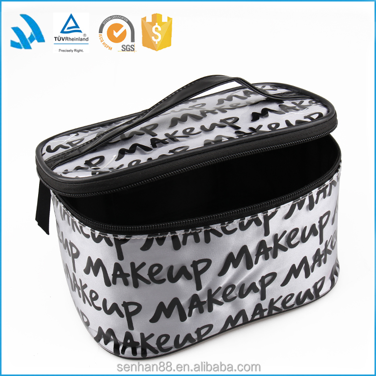 2015 latest clear cosmetic bags black colour women cosmetic bag new design black make up bag