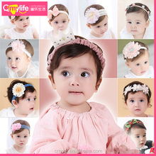 Hot selling elastic big beautiful flower headband korean baby kids hair accessories