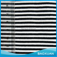 Factory supplier Yarn Dyed Polyester Cotton Stripe Single Jersey Knitting Fabric for dresses and shirt