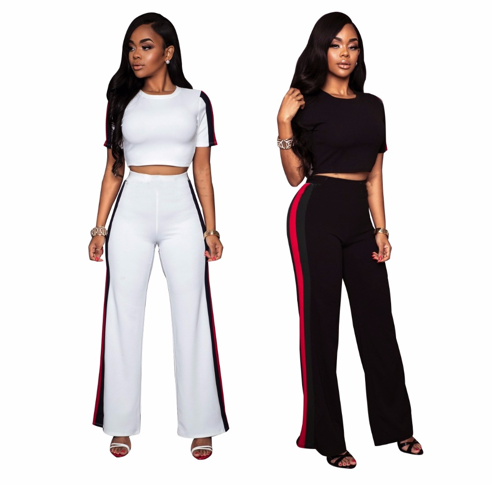 women Casual Crop Top Wide Leg Long Pants 2 piece outfit Sexy jumpsuits and track suits