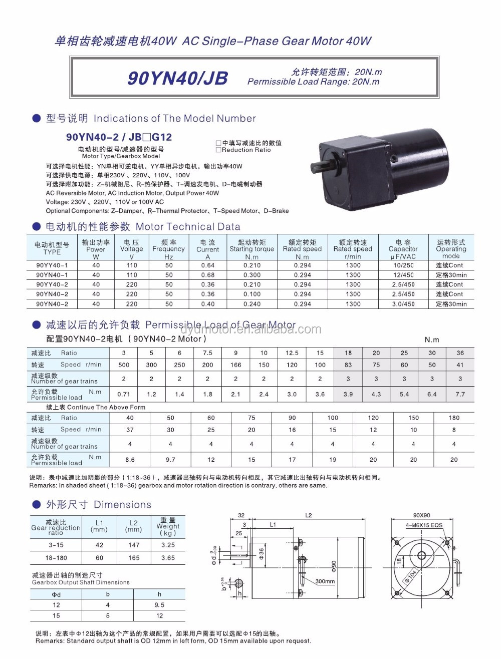 40~150W 90 Series 220V AC Induction Geared Motor