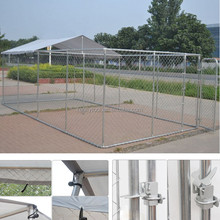 Easy Fence Dog Kennel With Shade Top Cover Galvanized Dog Cage Large Pet Houses Outdoor Cages