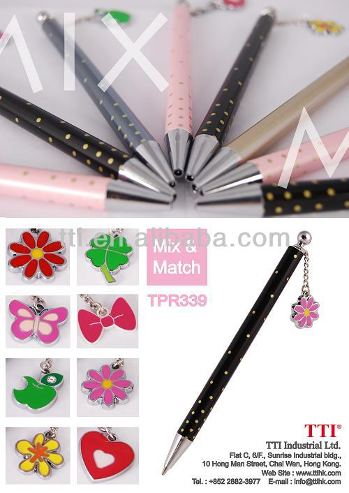 Plastic propelling pencil with charm logo pen back to school cartoon logo pen SA8000 Sedex approved polka dots pen