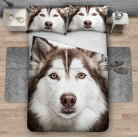 Husky dog design digital printed 3D quilt cover bedding set sheet set