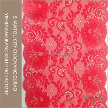 Wholesale cheap high quality spandex red elastic lace for lingerie