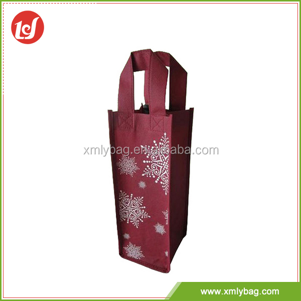 Best selling dark red reusable tote non woven wine bag from China