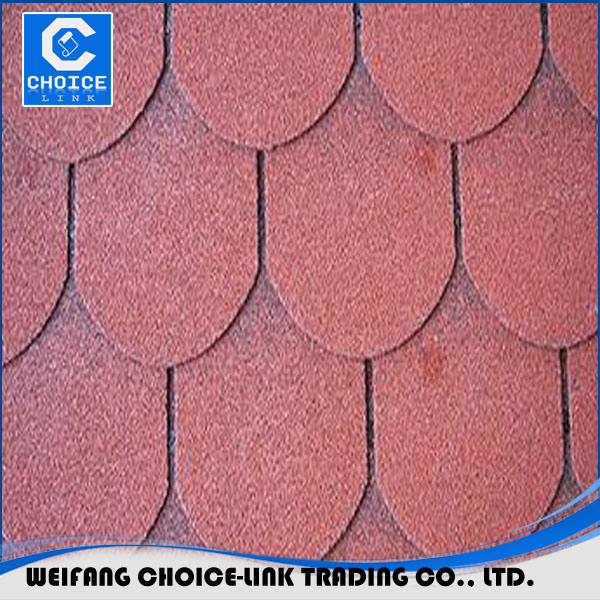 Cheap red asphalt shingles fish scale sale in China