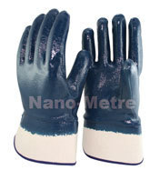 NMSAFETY heavy duty oil industrial protective gloves/jersey liner full coated blue nitrile gloves