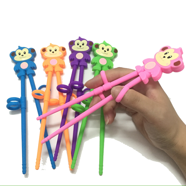 Cute Kids Trainning Chopsticks Animal Monkey Shape One Piece Child Silicone Chopsticks