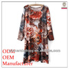 best price ladies high fashion loose-fitting pleated flora printed arabic dress designs