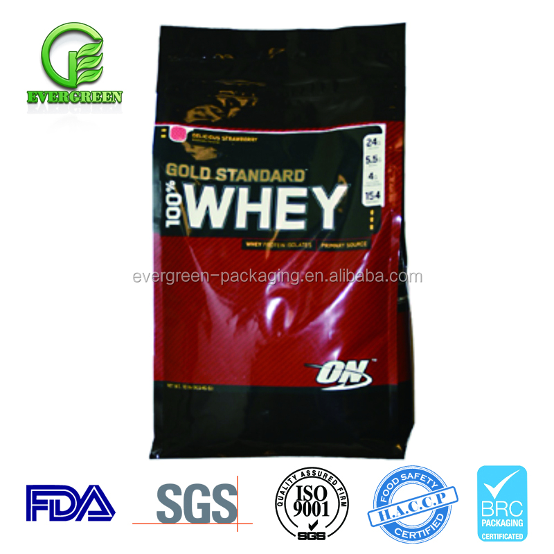 Accept custom order plastic resealable whey protein powder packaging bags for food