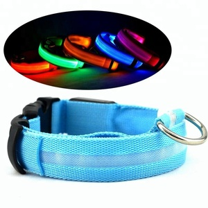 waterproof colorful pets collars Wholesale Nylon USB Rechargeable Flashing Led Dog Collar