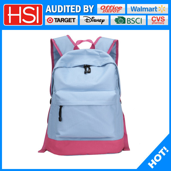 light blue pink polyester bottom backpack paded school bags backpack