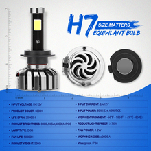 COB Headlight Car Fog Light Super Bright 8000lm Car N7 LED Headlights H7 COB Headlamp Auto Front Bulbs DRL Fog Lamp