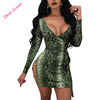 Ladies Sexy Green Snakeskin Print Long Sleeves Mini Club Dress