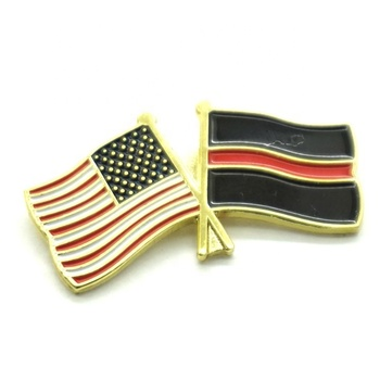 new design brooch Sytheic Enamel double American  flag shape badge lapel pins