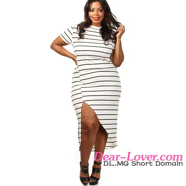 Plus Size White Black Stripe High Slit ladies long casual dresses pictures