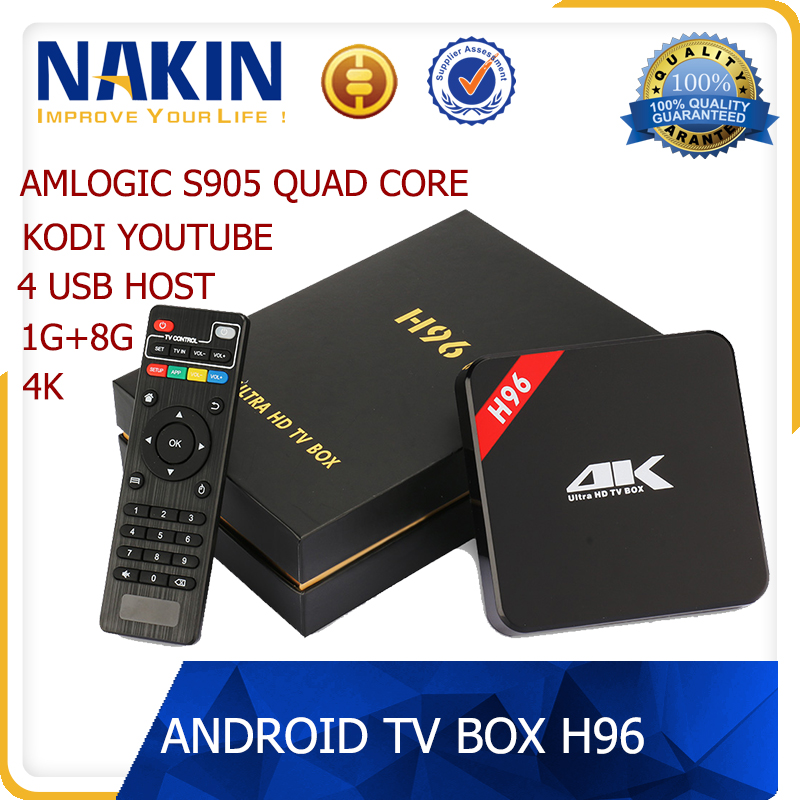 Android tv box H96 Amlogic S905 Quad Core android 5.1 4K kodi smart tv box